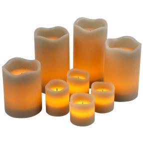 LED-Kerzenset taupe, 8-teilig