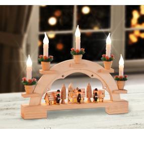 Lichterbogen Dorf mit 5 LED-Kerzen