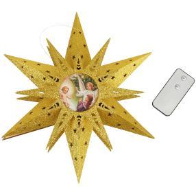 LED Holzstern mit Engelsmotiv, Ø 30 cm