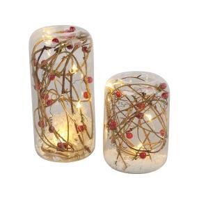 LED-Teelichthalter aus Glas, 2er Set