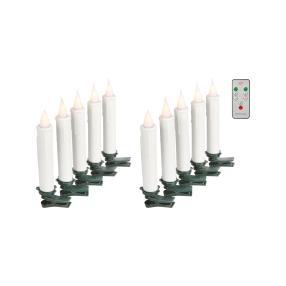 LED-Baumkerzen 3D-Flamme, weiß, 10-teilig