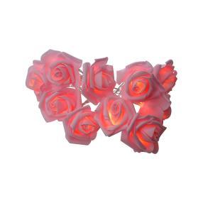 LED Rosenblüten-Lichterkette rosé, 10 LEDs, 165 cm