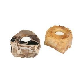 Darimana Teelichthalter Fossiles Holz, 2er Set