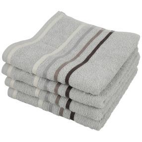 Superflausch Handtuch, grau, gestreift, 4er-Set
