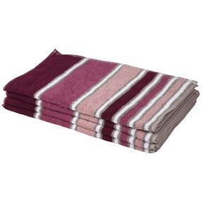 Cottonbelle Handtuch, beere, gestreift, 4er-Set