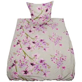 Coolsummer Bettwäsche, weiß-lila Blumen, 2-teilig