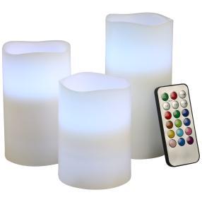 LED-Kerzen Farbwechsel mit Fernbedienung, 3er-Set