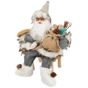 Weihnachtsmann Vincent auf der Bank, 30 cm