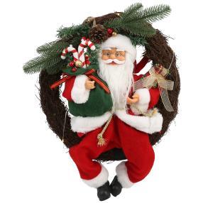 LED Türkranz Weihnachtsmann rot 40 cm