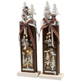 Holztischdeko beleuchtet, braun, 32 cm, 2er-Set