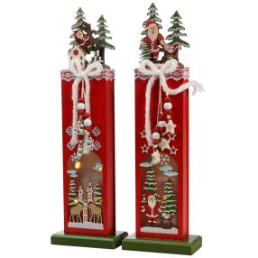 Holztischdeko beleuchtet, rot, 32 cm, 2er-Set