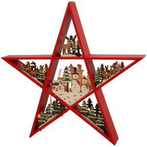 Tischdeko Holzstern rot 30 cm