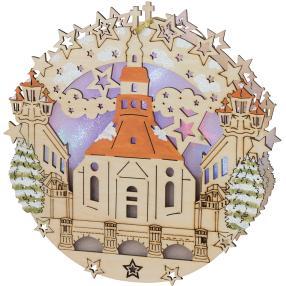 Fensterbild Seiffener Kirche, Ø 30 cm