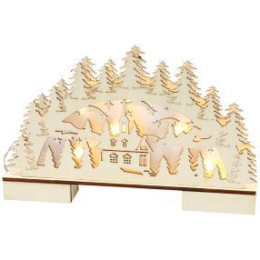 Kutter aus Holz mit LED-Beleuchtung 32 x 18 x 6 cm Weiss Hellblau Dekoracje marynistyczne Antyki i Sztuka