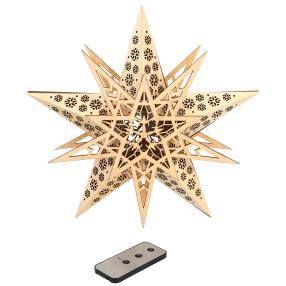 LED Holzstern natur mit Fernbedienung, 30 cm