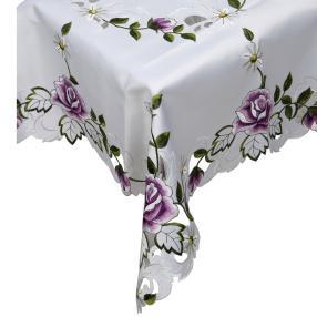 Mitteldecke Rosenmotiv weiß-lila, 85 x 85 cm