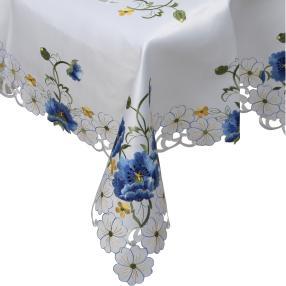 Mitteldecke Blüten weiß-blau, 85 x 85 cm