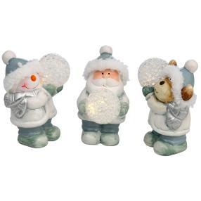 Weihnachtsfiguren mit LED Kugeln, 3er Set
