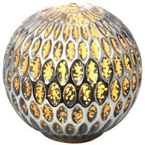 LED Glaskugel silber mit LED-Draht, 19 cm