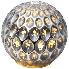 LED Glaskugel silber mit LED-Draht, 13 cm