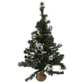 LED Weihnachtsbaum silber, geschmückt, 75 cm