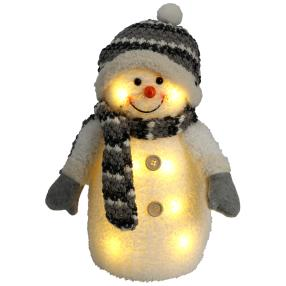 LED-Schneemann grau mit 8 warmweißen LED's, 33 cm