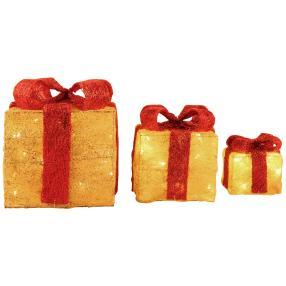 LED-Geschenkboxen mit Glitter, 3er Set