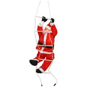 Weihnachtsmann auf LED-Leiter
