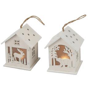 LED-Holzlaterne zum Hängen, weiß, 8,5 cm, 2er-Set