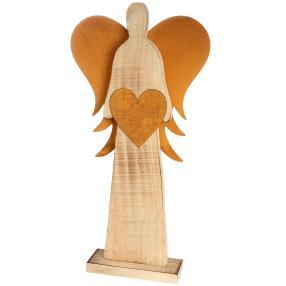 Holzengel mit Metall Flügeln, 47 x 24 x 7 cm