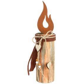 Holzkerze mit Metall Flamme, 35 x 8 cm