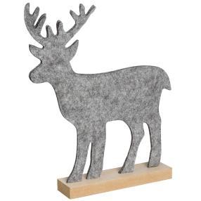 Filz-Hirsch grau auf Holzständer, 26 x 32 x 5 cm