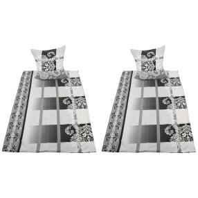 CoolSummer Bettwäsche, weiße Ornamente, 4-teilig