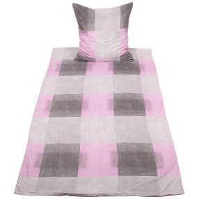 CoolSummer Bettwäsche, grau-rosa kariert, 2-teilig