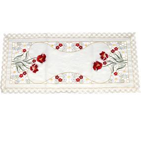 Tischläufer bestickt, rote Blumen, 40 x 85cm