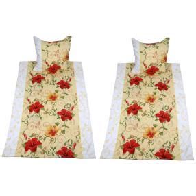 AllSeasons Bettwäsche, rot-gelbe Blumen, 4-teilig