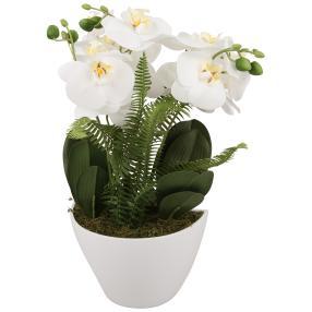 Orchideengesteck, 45cm, weiß, Keramikschale