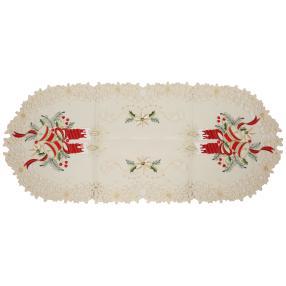 Tischläufer Weihnachten, 38x90cm, Stickerei, weiß