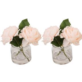 Rosen im Glas, rosa, 2er Set