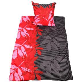 AllSeasons Bettwäsche, grau-rot, Blätter, 2-teilig