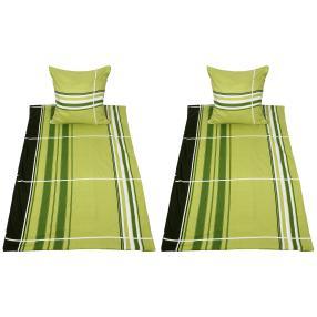AllSeasons Bettwäsche, grün gestreift, 4-teilig