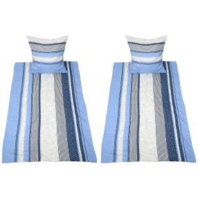 AllSeasons Bettwäsche, blau gestreift, 4-teilig