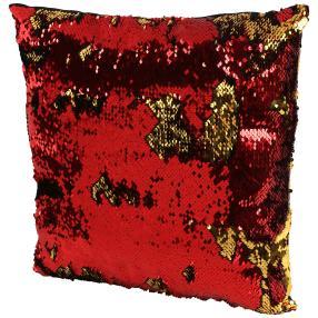 Paillettenkissen rot-gold, 40 x 40 cm