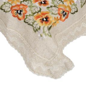 Mitteldecke Stiefmütterchen, bestickt, 85 x 85 cm