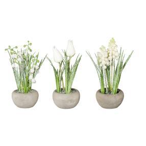 Kunstblumen im Zementtopf, geeist, 3er-Set