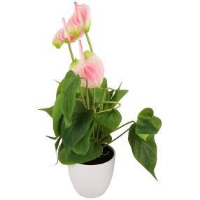 Kunstblume Flamingo, rosa, inkl. Topf