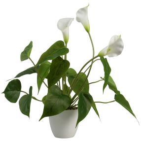 Kunstblume Calla weiß im weißen Topf, 40 cm