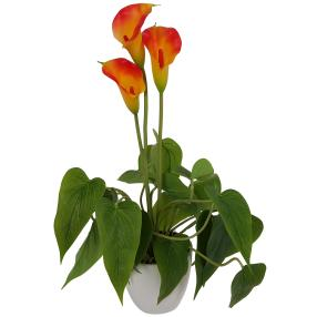 Kunstblume Calla orange, inkl. Topf