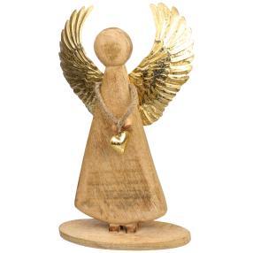 Holzengel XL mit goldenen Flügel, 45 x 32 cm