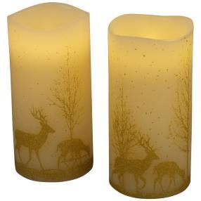 LED Kerzen Rentiere in Gold, 7,5 x 15 cm, 2er Set